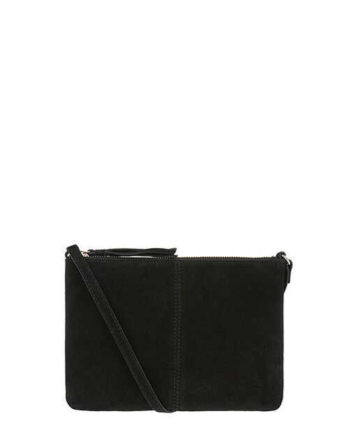 Leather and Suede Cross-Body Bag, , large