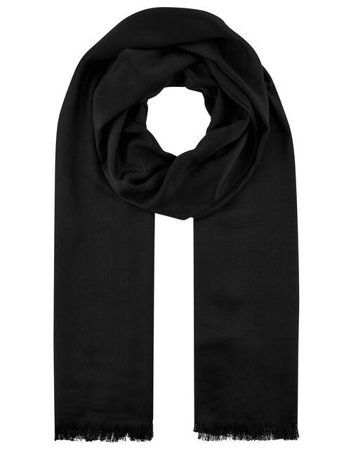 Plain Woven Scarf, Black (BLACK), large
