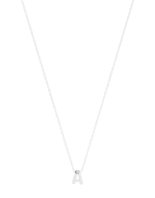 Sterling Silver Sparkle Initial Necklace - A, , large