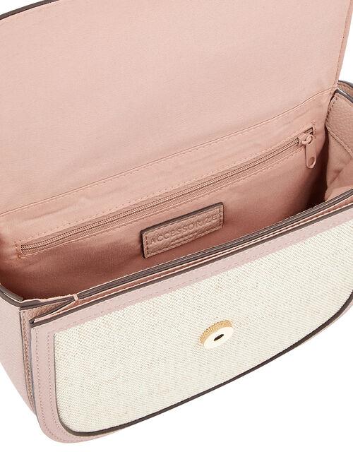 Linen Panel Cross-Body Bag, Nude (NUDE), large