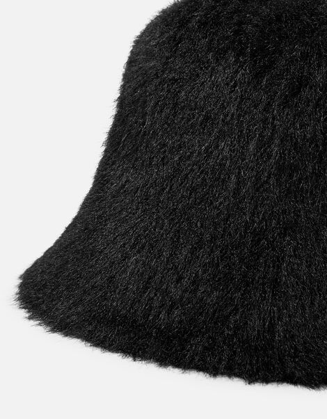 Fluffy Bucket Hat Black, Black (BLACK), large