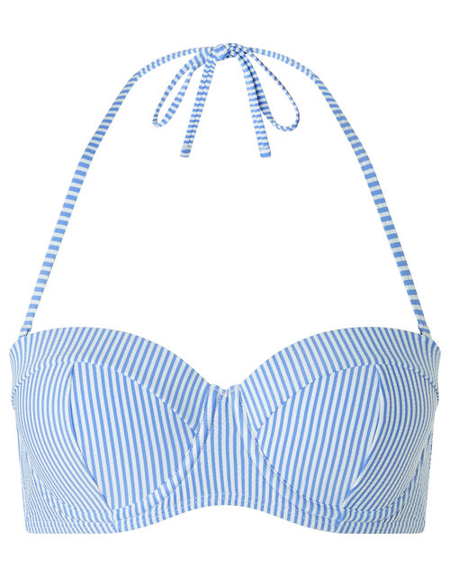 Stripe Moulded Cup Bikini Top, Blue (BLUE), large