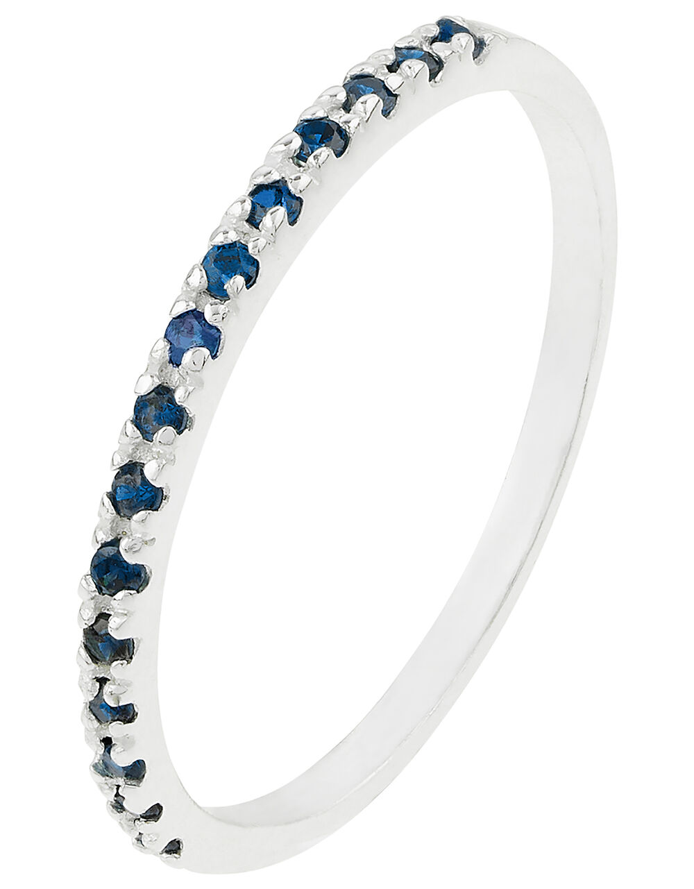 Sterling Silver Eternity Band Ring, Blue (BLUE), large