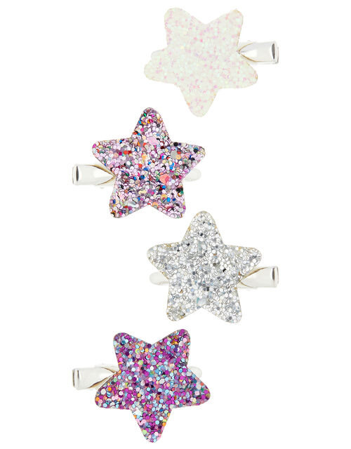 Glitter Star Hair Clip Set, , large
