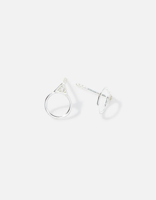 Sterling Silver Pave Droplet Studs, , large