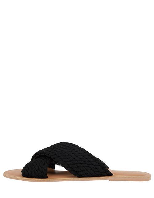 Woven Cross-Over Sliders, Black (BLACK), large