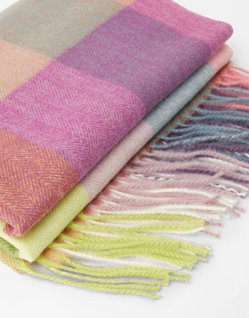 Sadie Colour-Block Check Blanket Scarf, , large