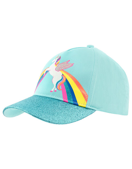 Retro Unicorn Glitter Baseball Cap, Blue (AQUA), large