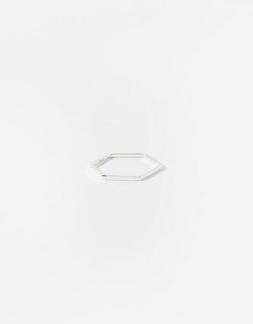 Sterling Silver Hexagon Band Ring, Silver (ST SILVER), large