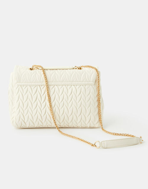 Penny Pleated Large Shoulder Bag, Cream (CREAM), large