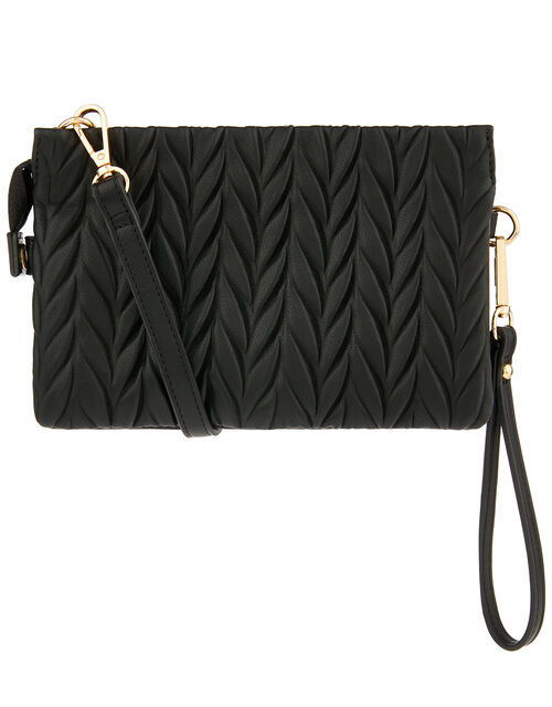 Paige Pleated Cross-Body Bag, Black (BLACK), large