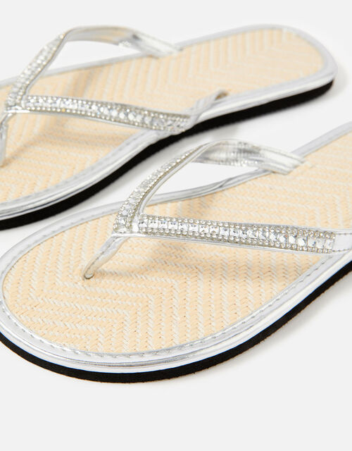 Embellished Metallic Flip Flops, Silver (SILVER), large