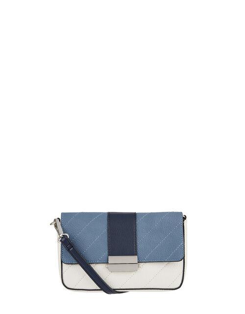 Colour-Block Cross-Body Bag, Blue (BLUE), large