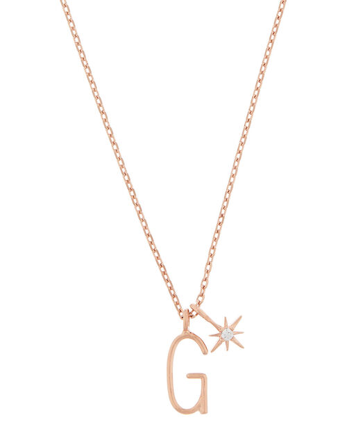 Rose Gold-Plated Initial Star Necklace - G, , large
