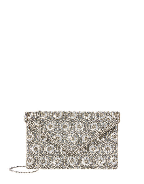 Tamara Embellished Clutch Bag, Silver (SILVER), large