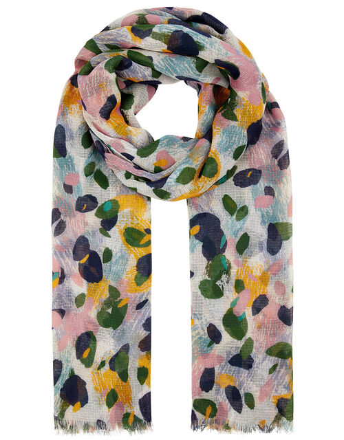 Abstract Water Lily Print Scarf, , large