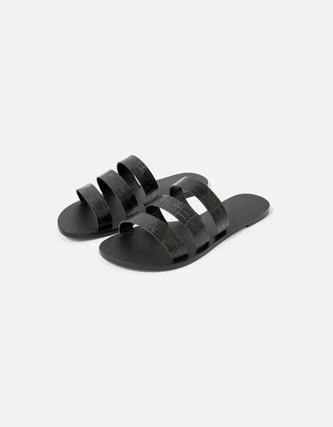 Triple Strap Leather Sandals  Black, Black (BLACK), large
