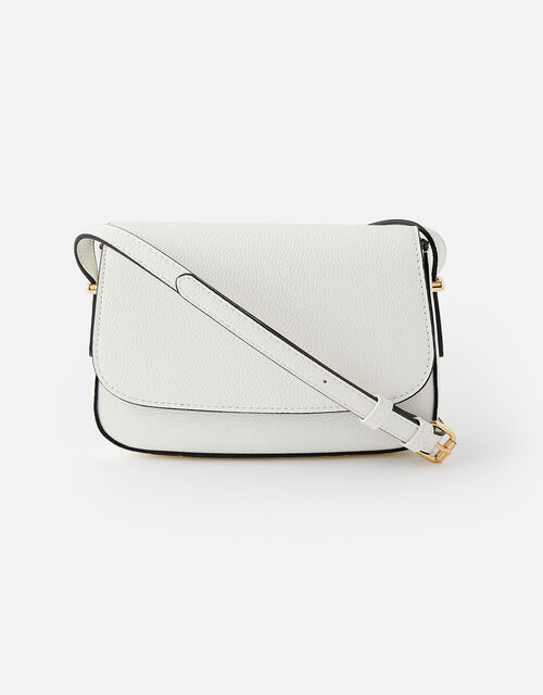 Ruby Saddle Cross-Body Bag , White (WHITE), large