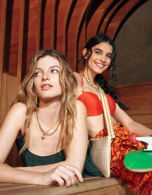 Ring Detail Moulded Bandeau Bikini Top, Orange (RUST), large