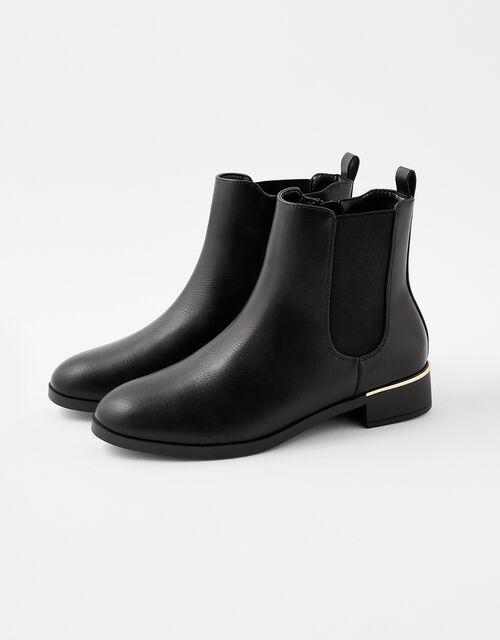 Metal Heel Chelsea Boots, Black (BLACK), large