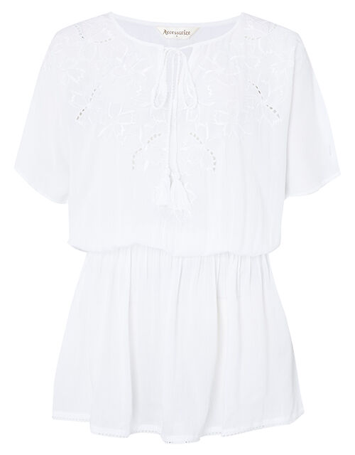 Kerina Cutwork Embroidered Kaftan, White (WHITE), large