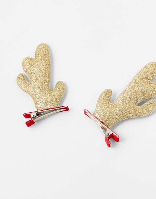 Glitter Rudolph Hair Clips, , large