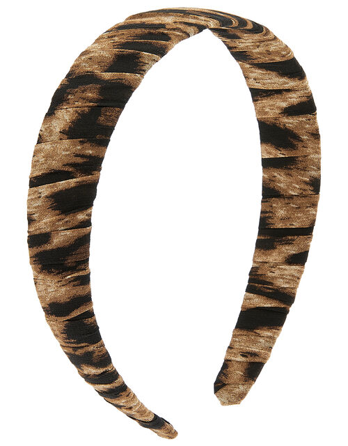 Ruched Leopard Headband, , large