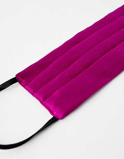 Pleated Face Covering in Pure Silk, Pink (FUCHSIA), large