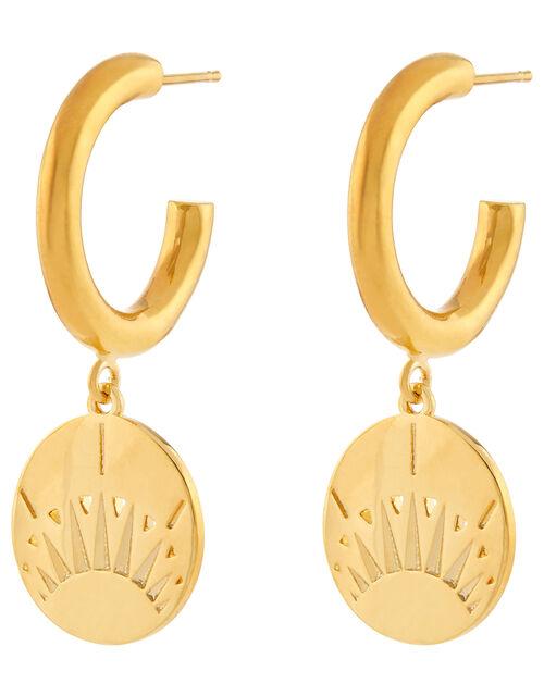 Gold-Plated Charm Hoop Stud Earrings, , large