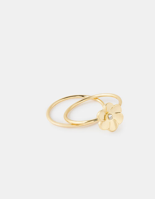 Flower Stacking Ring Set, Gold (GOLD), large