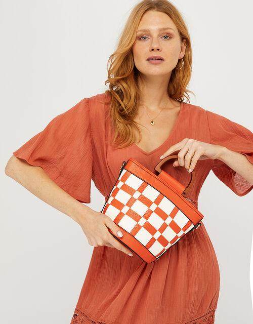 Contrast Weave Handheld Bucket Bag, Orange (ORANGE), large
