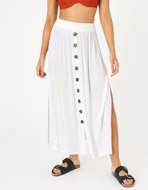 Button Down Skirt in LENZING™ ECOVERO™, White (WHITE), large