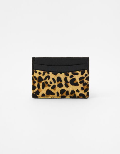 Suki Leopard Leather Card Holder, , large
