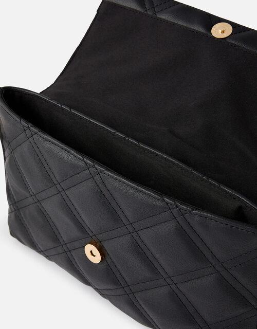 Stud Quilted Clutch , Black (BLACK), large