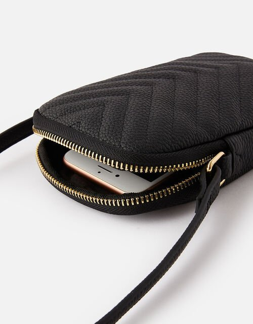 Quilted Phone Purse, Black (BLACK), large
