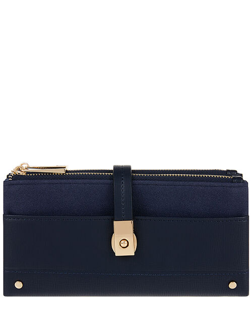 Push-Lock Faux Leather Wallet, Blue (NAVY), large
