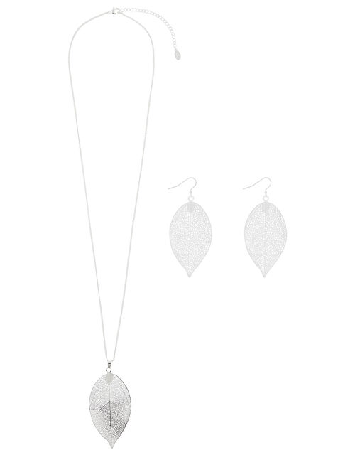 Leaf Necklace and Earring Set, , large