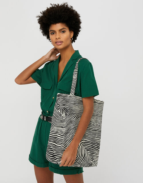 Zebra Shopper Bag, Black (BLACK/WHITE), large