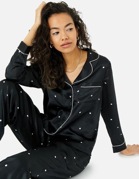 Spot Print Satin PJ Set Black, Black (BLACK/WHITE), large