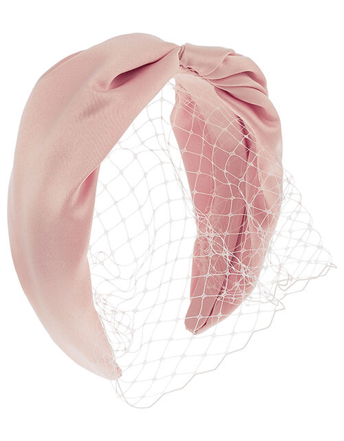 Taylor Satin Headband with Veil, Pink (PALE PINK), large