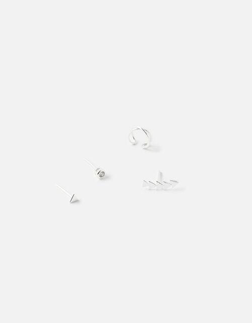 Sterling Silver Geometric Ear Set , , large