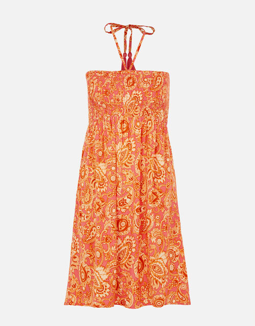 Paisley Print Bandeau Dress, Orange (RUST), large