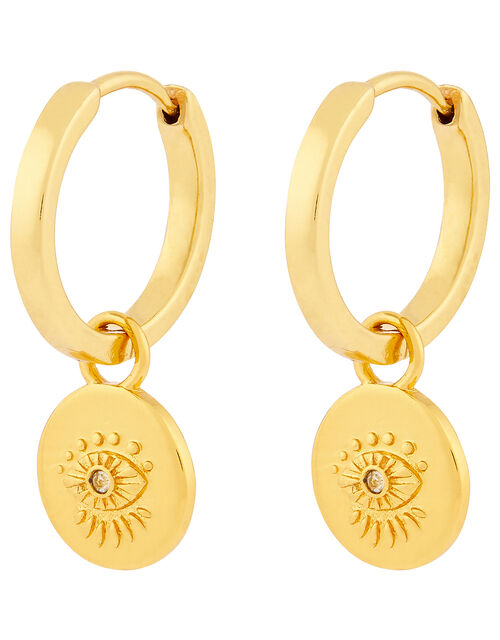 Gold-Plated Evil Eye Huggie Hoop Earrings, , large