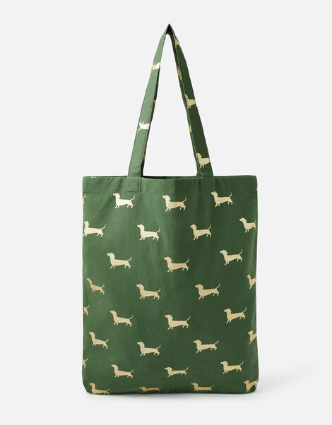 Novelty Foil Print Shopper Bag Green, Green (GREEN), large