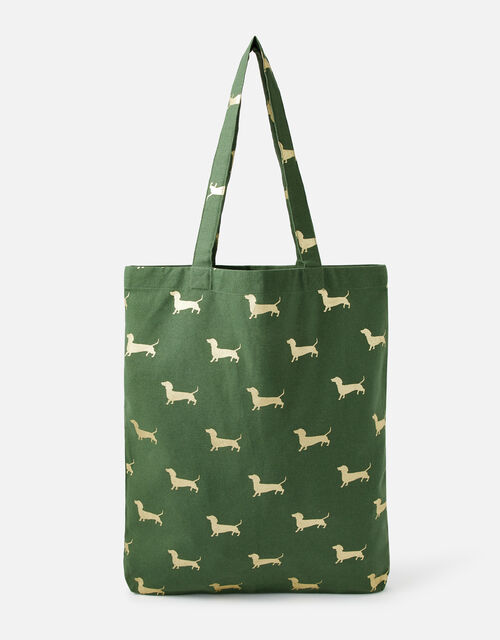 Novelty Foil Print Shopper Bag, Green (GREEN), large