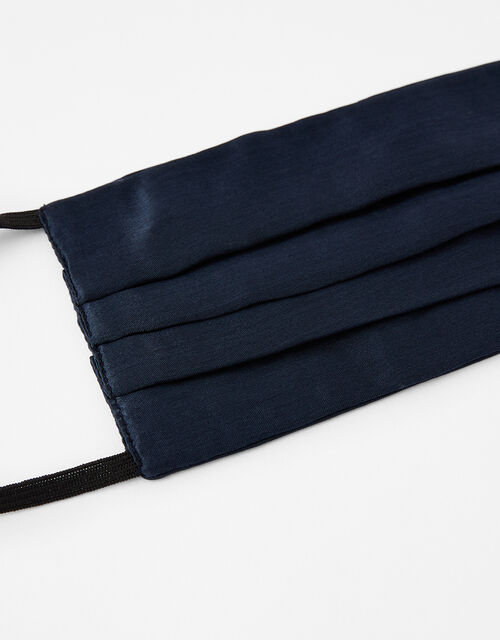Pleated Face Covering in Pure Silk, Blue (NAVY), large