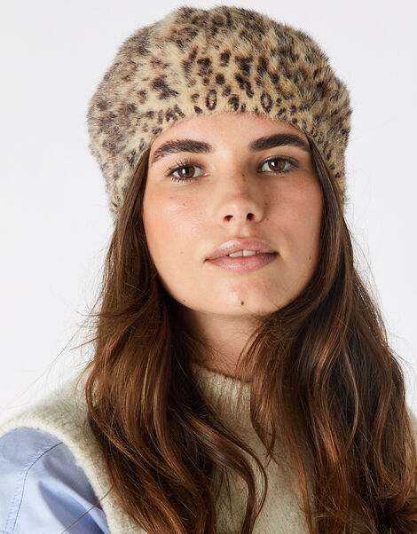 Fluffy Leopard Beret, , large
