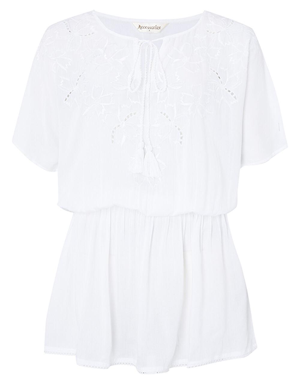 Kerina Cutwork Embroidered Kaftan, White (WHITE), large