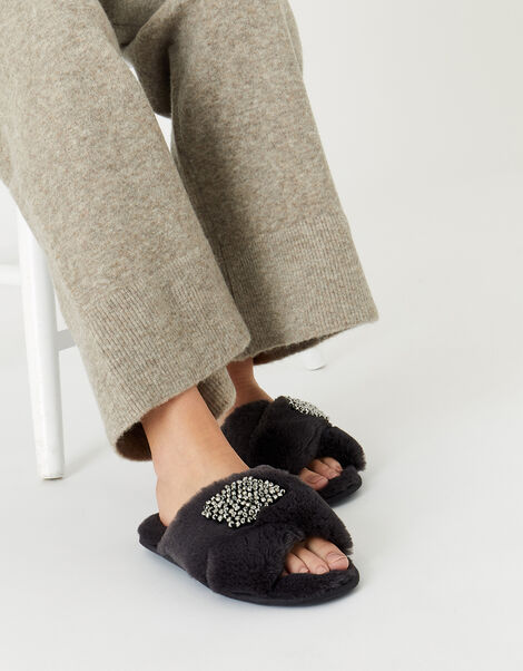 Beaded Fluffy Cross-Over Slippers Grey, Grey (GREY), large
