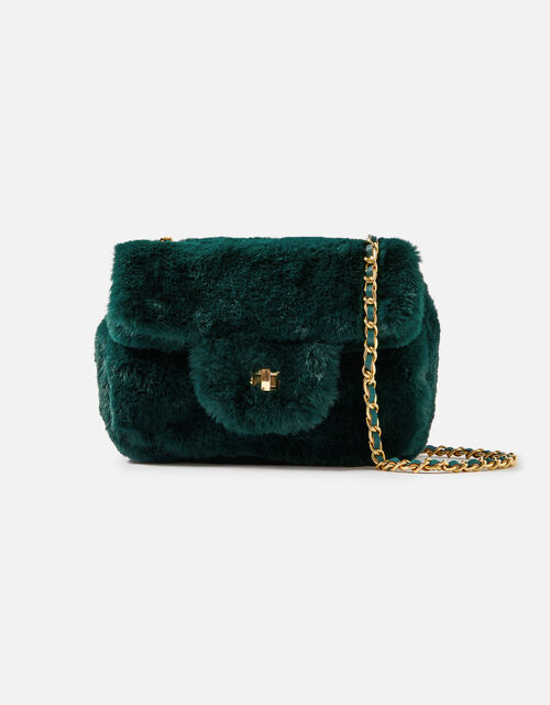 Billie Mini Faux Fur Cross-Body Bag , Green (GREEN), large